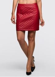 fusta imitatie piele rosie