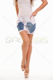 pantaloni scurti de blugi albi